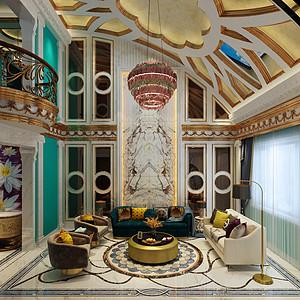 富康路十一号后现代奢华风格客厅效果图