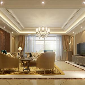 别墅欧式现代风二楼客厅装修效果图
