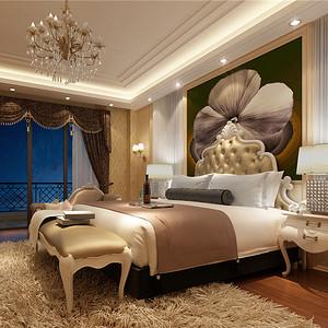 别墅欧式现代风二楼卧室装修效果图