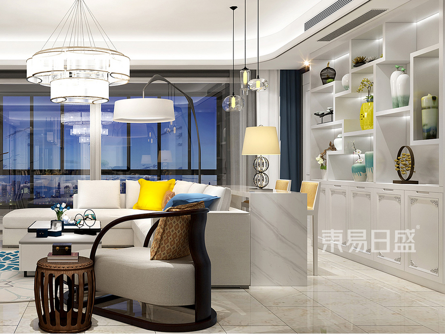 现代中式客厅家具摆设效果图
