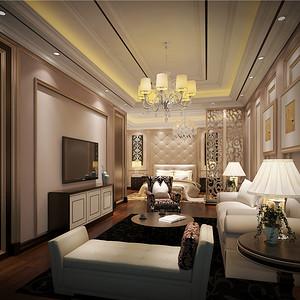 别墅欧式现代风套房客厅装修效果图