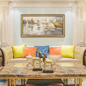 中央公园140平简欧设计装修效果图-客厅
