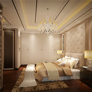 别墅欧式现代风套房卧室装修效果图
