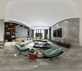 300㎡别墅现代简约风格客厅全景图