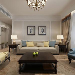 保利拉菲148㎡三室二厅美式风格装修案例