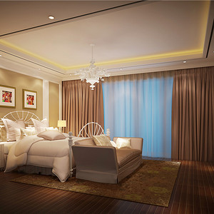 别墅欧式现代风三楼卧室装修效果图
