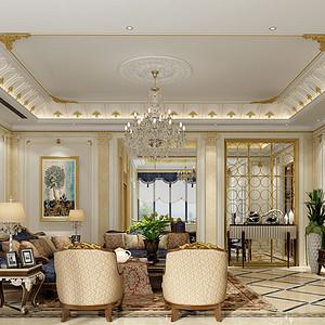560㎡别墅法式风格客厅效果图