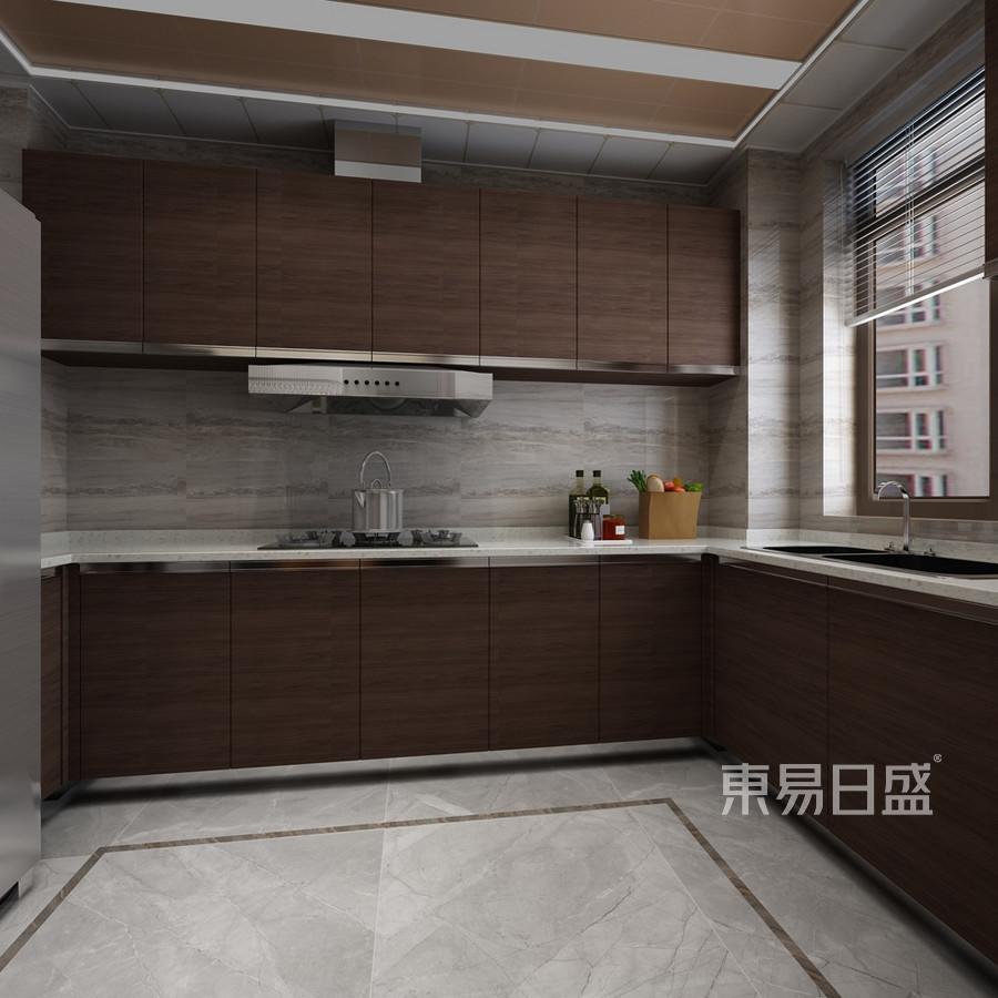 新中式风格-厨房-装修效果图效果图_2018装修案例图片