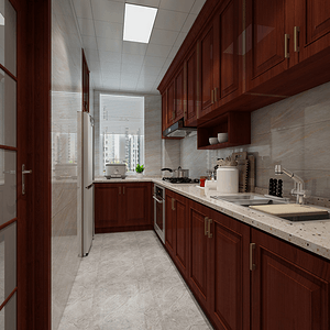 中式风格-厨房-装修效果图