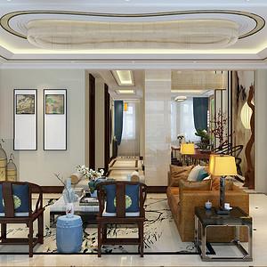 紫悦府新中式风格客厅装修效果图