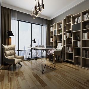 锦湖湾畔四房现代简约书房装修效果图