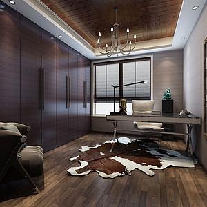 书房效果图深色的家具与灰色的乳胶漆