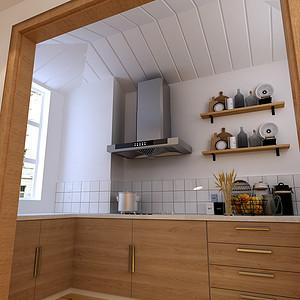 华茂公园郡北欧风格厨房装修效果图