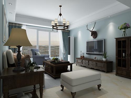 格林小镇-133平米-简美风格三室两厅装修案例效果图