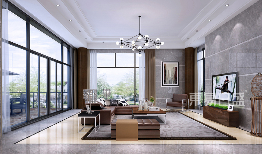 现代中式风格装修效果图-客厅