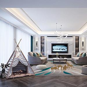 保利康桥340㎡大平层美式轻奢风格