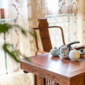 中隆国际御玺200平米中式茶室一角