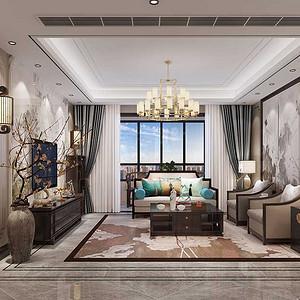 龙湖香醍 新中式装修效果图 三室两厅一厨两卫 150平米