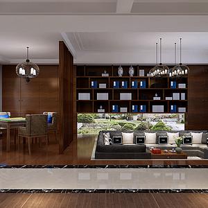 现代中式风格装修效果图-休闲厅