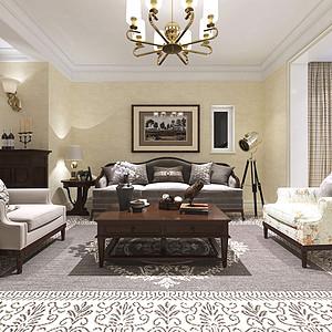昆明公园1903三室两厅一厨两卫110平米美式风格案列