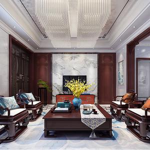 天誉花园新中式客厅效果图