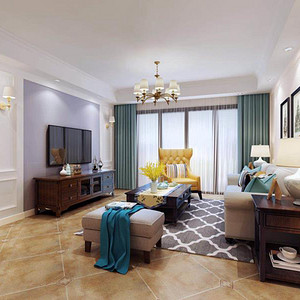 合正丹郡 简美风格 99平米 三房两厅 装修效果图