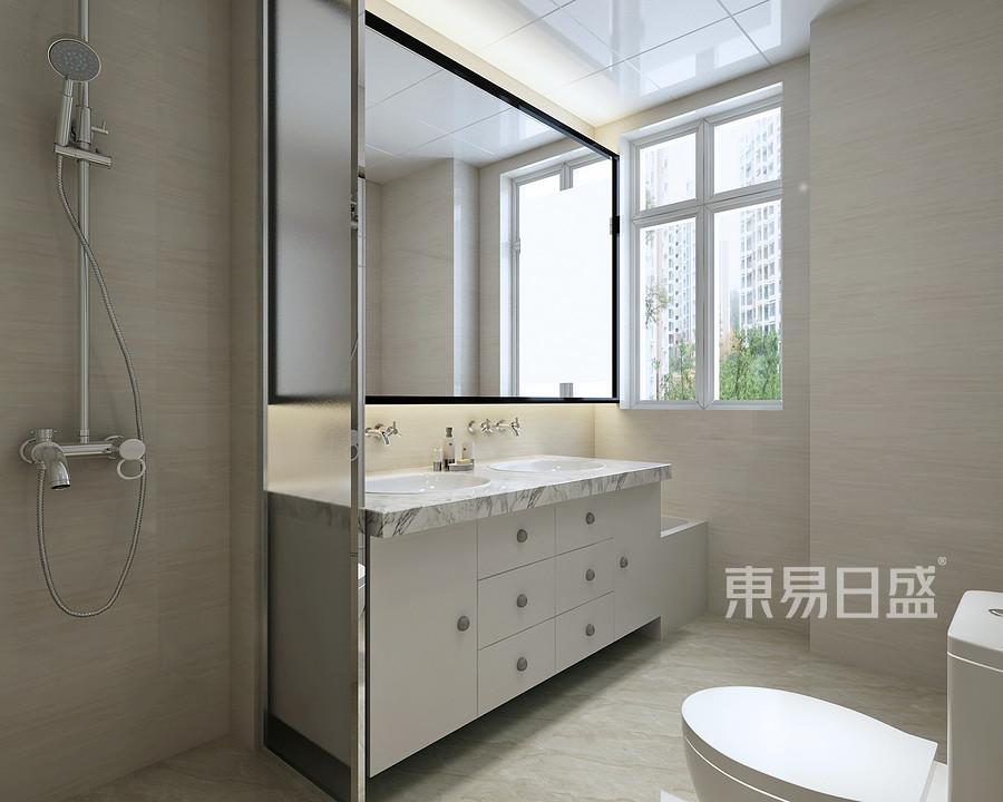 卫生间:选择定制洗面台完美契合了空间