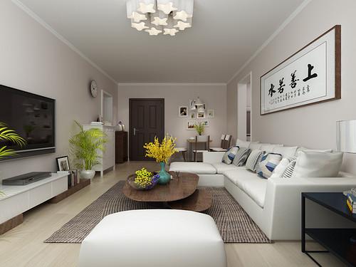 良志嘉年华-89平米-现代简约风格两室一厅装修案例效果图