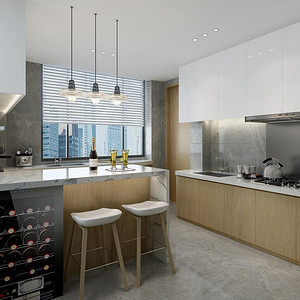 中天栖溪里160平现代简约平层厨房