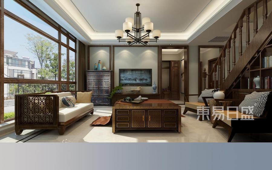 别墅设计-简中风格-客厅设计