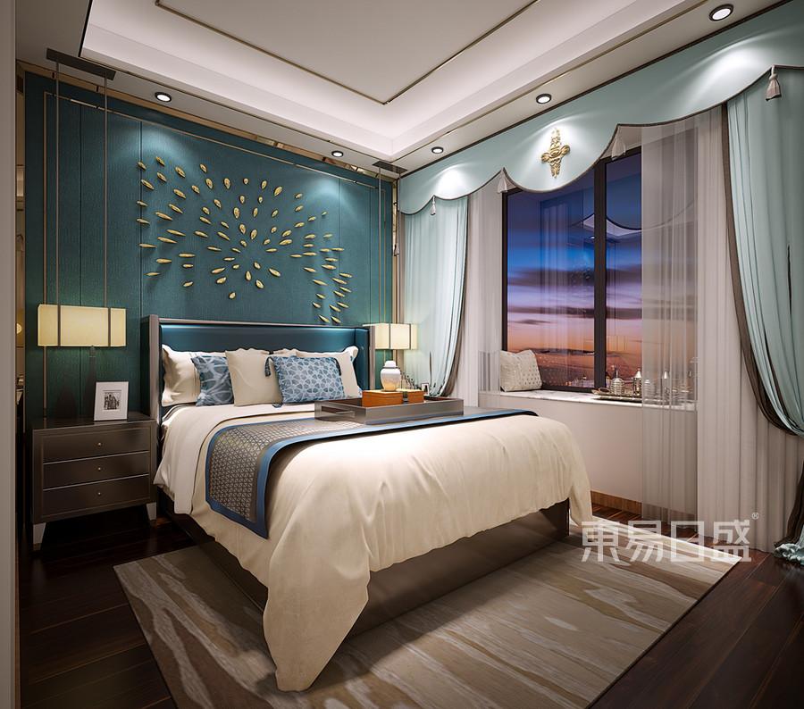 新中式风格 卧室装修效果图效果图_2018装修案例图片