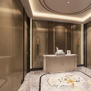 中厅效果图金色光面的材质