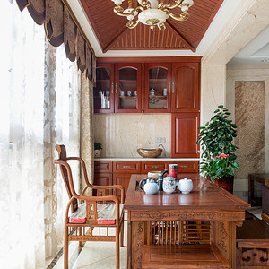中隆国际御玺200平米中式阳台茶室