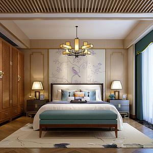 天誉花园新中式二楼卧室效果图