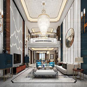 3号别墅新中式客厅装修效果图