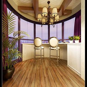 阳台角度,整体颜色温馨,休闲浪漫