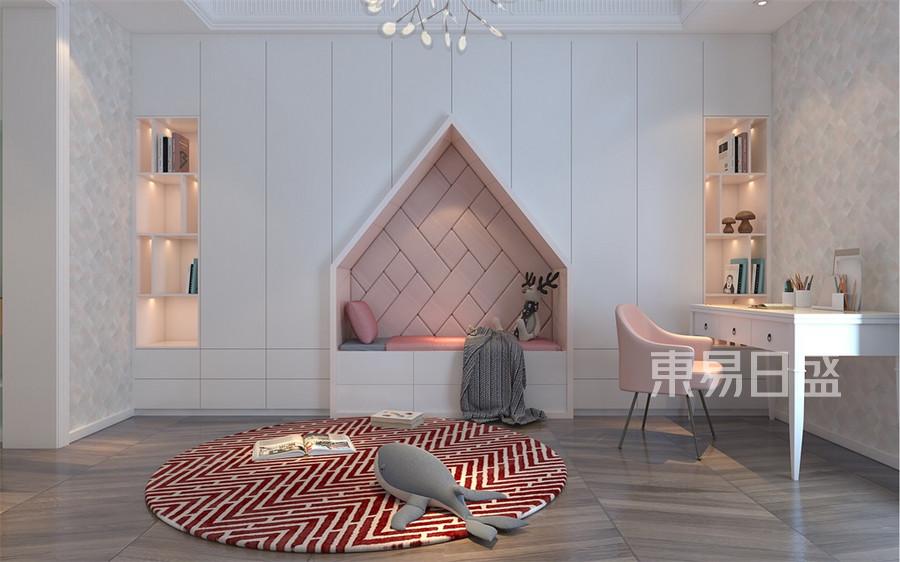三居室-现代港式-女儿房客厅-效果图
