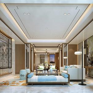 客厅简洁的墙面处理,以及带有中式韵味