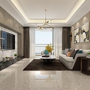 浅灰的布艺沙发搭马毛棕色地毯,奠定了整个空间低调沉稳的气质。装饰画丰富了墙面却不显突兀。