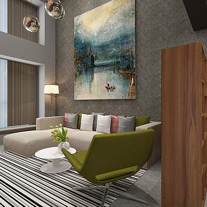 东城星河传说迪纳公寓装修案例 60㎡工业风跃层装修效果图