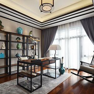 书房书房静室,雅致的书柜,一方实木书