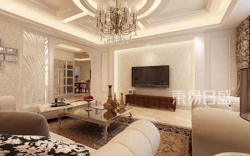 欧式古典 - 电视墙用仿石材内返灯带视觉更有冲击力