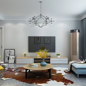 盛邦大都会-两室两厅-北欧风格装修案例