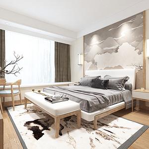 九龙仓珑玺新中式风格卧室效果图