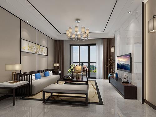 东城鼎峰尚境-139㎡新中式三房二厅装修效果图