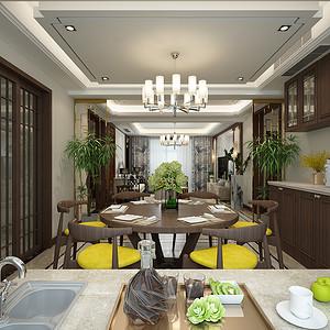 餐厅屏风、绿植体现出一种修身养性的氛