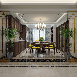 客餐厅通过顶面与地面的造型