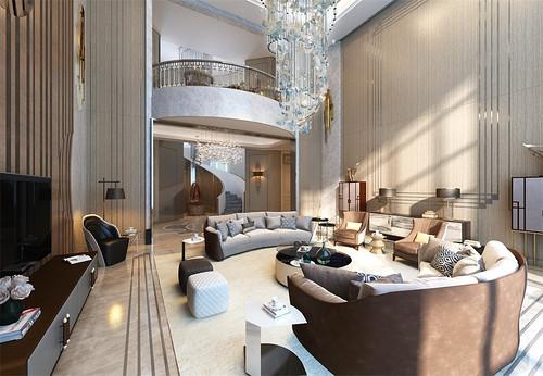 忻州繁峙自建别墅现代轻奢1200平米装修效果图