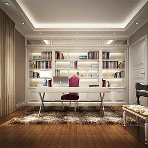 灰咖色地板,白色装饰品,使书房沉稳优