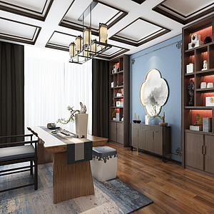 现代中式-书房